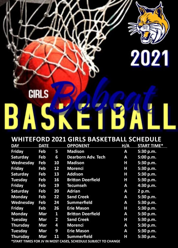 whiteford 2021 girls basketball schedule